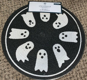 """Halloween Round Placemat Set Of 4 Ghost Ghosts Black White Storehouse 15"""" NEW"""