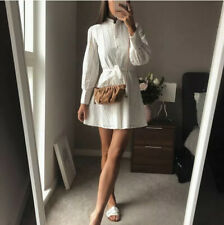 BNWT ZARA OYSTER WHITE EMBROIDERED MINI SHIRT DRESS SIZE S