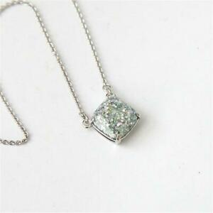 Kate Spade New York Cause a Stir Opal Glitter Square Pendant Necklace Silver