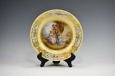 Antique Sevres France Hand Painted Cabinet Plate Courting Scene By The Fountain