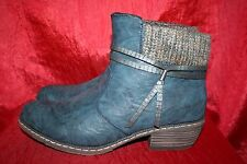 RIEKER Sock Ankle Boots UK8 EU42 Distressed Blue Faux Leather Fur Lined BNIB