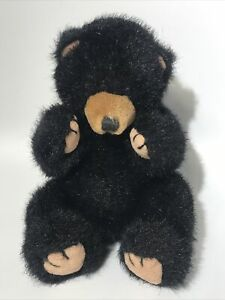 Vintage Russ Berrie Plush Blacky The Black Bear 6 Inch Sitting Adorable Soft
