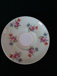 Vintage AYNSLEY Bone China  Green Floral Tea Saucer C1940s