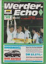 Orig.PRG  Cup der Pokalsieger / EC 2  1992/93  WERDER BREMEN - HANNOVER 96 ! TOP