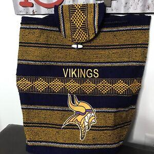 MN Vikings poncho style backpack purple gold Loop & Hook 14 x 14 x 5 NWOT