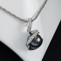 White Gold gp lab Diamond Elegant Gray Pearl Pendant Necklace Wedding Party New