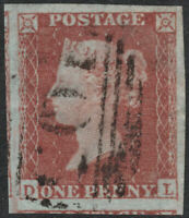 1852 ALPH 2 SG8 1d RED BROWN PLATE 166 VERY LARGE 4 MARGINS VERY FINE USED (DL)