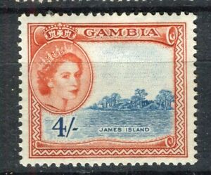 GAMBIA; 1953 early QEII issue fine Mint hinged 4s. value