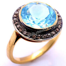 Estate Vintage 0.95Cts Rose Cut Diamond Blue Topaz Studded Silver Jewelry Ring