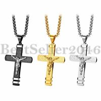 Men Women Stainless Steel Christ Jesus Cross Crucifix Pendant Necklace Chain 22""