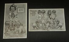 Lot 2 Postcards Pair 1910 F&H Levy Child Cartoons Girls Dogs Cat Humorous