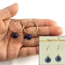 Small Hoop Lapis Drop Earrings - 14K Yellow Gold TPJ