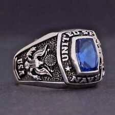 Y48 925K SOLID STERLING SILVER USA NAVY RING BY PRUVA JEWELRY