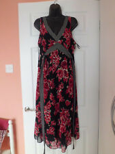 George Black and Red Floral V Neck Chiffon Dress  size  16