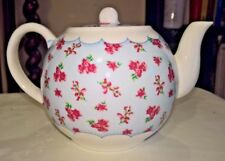 PRETTY VINTAGE STYLE SHABBY CHIC NEW 1 1/2 PINT CHINA TEAPOT BLUE WITH PINK ROSE