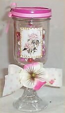 1 Mason Jar Candy Pink Dish Mothers Day Easter Spring Shabby Decor Chic