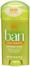 2 Pk Ban Invisible Solid Antiperspirant Deodorant Sweet Simplicity Scent 2.6oz
