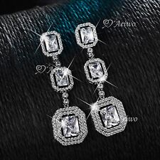 18K WHITE GOLD GF SIMULATED DIAMOND WEDDING PARTY STUD LUXURY DANGLE EARRINGS