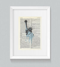 New York Statue Of Liberty Vintage Dictionary Book Print Wall Art
