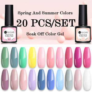 UR SUGAR 20PCS Nail Gel Polish Set Soak off UV LED Colour Base Top Coat Varnish