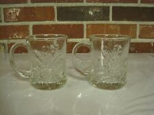 VINTAGE 2 CLEAR GLASS CUPS WITH RAISED ROSES