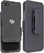 BLACK RUBBERIZED HARD CASE BELT CLIP HOLSTER STAND FOR BLACKBERRY Z30 PHONE