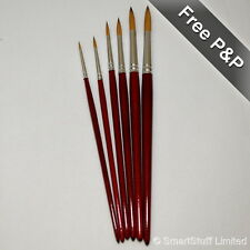 Artists Pure Sable Assorted Set of Round Tip Brushes - Sizes 0  2  4  6  8  10