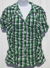 Ladies Size M Medium Blouse Green Navy Blue White Plaid Ruched W D NY New Tags
