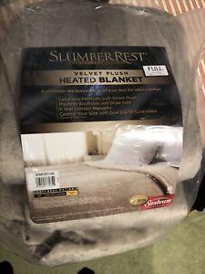 sunbeam slumber rest velvet plush heated blanket full new beige retails over $90