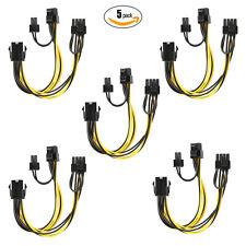 5 Pcs PCIe 8pin Female to Dual 8pin(6+2) pin Male GPU Power Cable Splitter USA