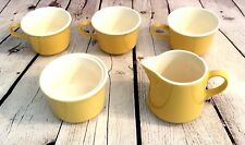 Vintage Yellow Mid Century Ceramic Replacement Coffee Cups Sugar Bowl Creamer