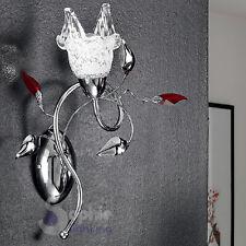 Applique lampada muro design moderno accaiaio cromo braccio foglie cristallo