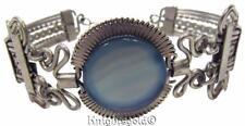 Vintage Silver Filagree Bracelet Glass Stone