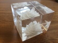 Vintage Michael Cox lucite reverse etched rose ornament paperweight cube signed