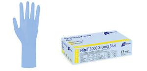 NITRIL 300 Long BLUE HANDSCHUHE---X-Large EXTRA   LANGE STULPE  30 cm  (XL)