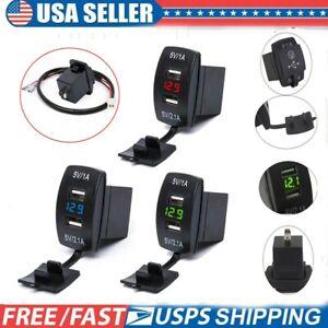 Digital Dual USB Port Car Boat Charger Socket Voltage Panel Volt Meter 12/24V US
