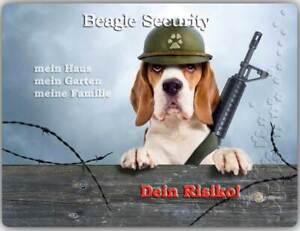 Warnschild - Schild aus Aluminium - Motiv: Beagle Security