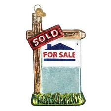 REALTY SIGN OLD WORLD CHRISTMAS GLASS REAL ESTATE AGENT ORNAMENT NWT 36203