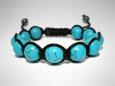 Mens Womens Turquoise Beaded Shamballa Woven Wrap Friendship Jewelry Bracelet