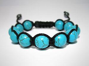 Mens Womens Turquoise Beaded Shambhala Woven Wrap Friendship Jewelry Bracelet