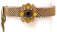 Victorian Edwardian Gold Filled Mesh Bracelet Slide w' Seed Pearls Ruby Glass