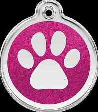 Medaille Chien Chat Red Dingo empreinte avec Paillettes 7 Couleurs 3 Tailles Moyen Paillette Rose Bonbon