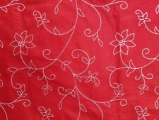 Red Craft Felt White Stitched Embroider Floral Poinsettia Christmas Fabric 59x37