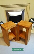 Pair Of Rustic Bedside Tables/Side Table/Small Sofa Table/Solid Pine Wood