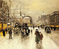 Oil painting place st. michel, christmas winter snow figures in street scene art