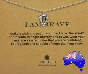 Dogeared I AM BRAVE Shield Silver Inspirational Message Pendant Necklace Gift