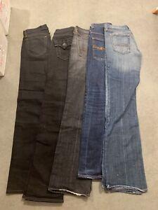 Denim Jeans , Womens , Nudie 7for All Mankind ,  True Religiin. 5 Pair Bundle