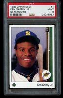 1989 89 Upper Deck Ken Griffey Jr. RC PSA 9 Mint Star Rookie 1 Seattle Mariners