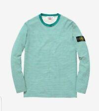 SUPREME STONE ISLAND Men's Green/White Striped Long Sleeve Cotton T-shirt.Medium