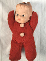 "Vintage Cuddle Toys by Douglas Red Plush Girl Doll 8"" Rubber Head"